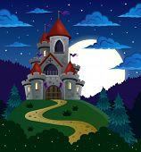 pic of fireflies  - Night scene with fairy tale castle  - JPG