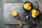 image of mint leaf  - Mango ice cream sorbet with mint leaves and Spoon for ice cream on stone slate background - JPG