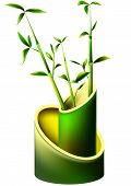 image of bamboo leaves  - Vase from mature bamboo stems and young leaves - JPG