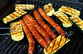 pic of grilled sausage  - barbecue with five sausage and grilled zucchini - JPG