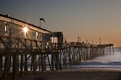 stock photo of kitty  - Avalon fishing Pier in Kitty Hawk on the Outer Banks is a popular destination - JPG