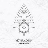 pic of occult  - Vector geometric alchemy symbol with eye - JPG