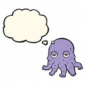 foto of squid  - cartoon alien squid face with thought bubble - JPG