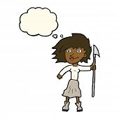 pic of spears  - cartoon woman with spear with thought bubble - JPG