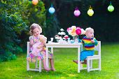 foto of little young child children girl toddler  - Garden birthday party for children - JPG