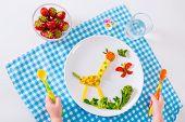 stock photo of vegetarian meal  - Healthy vegetarian lunch for little kids - JPG