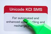 picture of sms  - unicode kci sms with marker on the white background - JPG