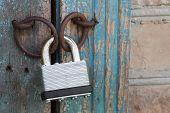 stock photo of hasp  - Photo of the padlock and old metal hasp closeup - JPG