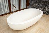 picture of terrazzo  - White bathtub made of terrazzo in the house - JPG