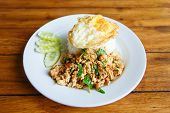 stock photo of gai  - Thai spicy food basil chicken fried rice recipe with fried egg  - JPG