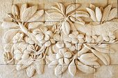stock photo of carving  - Close up Flower of stone carving hand made from Thailand - JPG