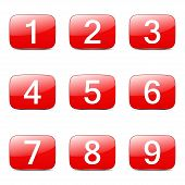 pic of numbers counting  - Numbers Counting Square Vector Red Icon Design Set - JPG