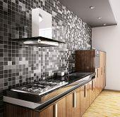 3D Interior cocina moderna de madera ébano