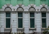 stock photo of art nouveau  - Architecture of the end of 19th century and beggining of 20th centure in art nouveau style in Kiev Ukraine - JPG