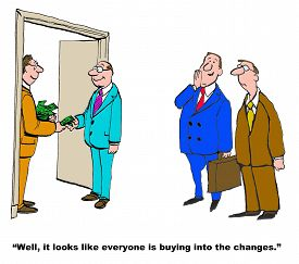 picture of change management  - Business cartoon showing managers actually receiving money from the boss - JPG