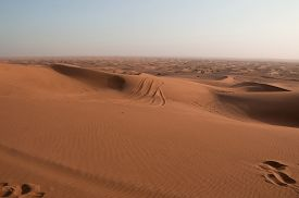 foto of barchan  - footprints on sand dune in Rub  - JPG