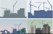 illustration with house building and cranes