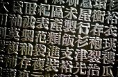 A horizontal arrangement of random Chinese type and character symbols, shallow depth of field. Mixed