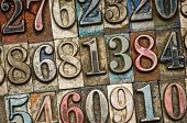 A random selection of vintage and colorful letterpress numbers as a background