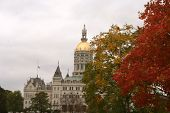 stock photo of capitol building  - State capitol building in Hartford Connecticut with Autumn trees - JPG