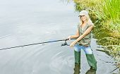 stock photo of fisherwomen  - young blond woman fishing and standing in pond - JPG