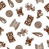 Stylized Aztec animal figures. Seamless pattern.