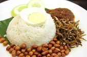 stock photo of nasi  - Nasi lemak traditional malaysian spicy rice dish - JPG