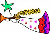 foto of christmas angel  - Christmas angel blowing the trumpet and holding the star drawn in toddler art style - JPG