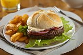 stock photo of fried onion  - Delicious fresh hamburger with fries and tomato - JPG