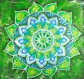 Abstract Green Painted Picture With Circle Pattern, Mandala Of Anahata Chakra