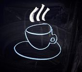 Cup Of Coffee. Drawing With Chalk And A Blackboard.