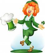 Dancing Leprechaun With Goblet Of Green Beer.