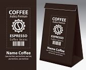 Paper Packaging With Label For Coffee Beans. Vector Label For Coffee With Coffee Bean In Flower, Bar poster