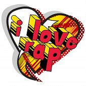 I Love Rap - Comic Book Word On Abstract Background. poster