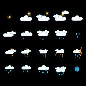 Weather Icon Set. Meteorology Symbol Weather Forecast. Isolated Icons Prognosis Weather. Design Elem poster