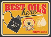 Motor Oil Retro Poster For Car Service Or Gas Station Template. Vintage Engine Oil Can Pourer With D poster