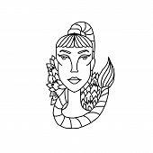Scorpio Girl Portrait. Zodiac Sign For Adult Coloring Book. Simple Black And White Vector Illustrati poster