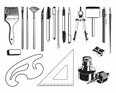 stock photo of french curves  - Black and white cartoon vector illustration set of art Supplies - JPG
