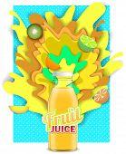 Tropical Fruit Juice Drink. Vector Paper Cut Poster, Banner, Flyer Design Template. Fruit Juice Glas poster