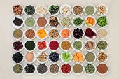 Health food for the brain with a super food collection of herbs and spices used in herbal medicine a poster