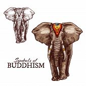 Indian Elephant Sketch Of Buddhism Religion Animal. Elephant Animal Symbol Of Physical And Mental St poster