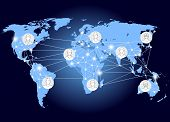 World Network. Social Networks Unite The World. Social Network Scheme On The Earth Map poster