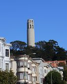 picture of firehose  - Coit tower in San Francisco California stands tall in the shape of a firehose nozzel - JPG