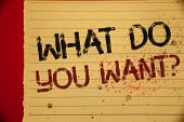 Handwriting Text What Do You Want Question. Concept Meaning Aspiration Contemplation Need Contemplat poster