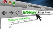 High Resolution 3d Illustration Of Ssl Secure Browser With Text Online Banking Secure. Great Concept poster