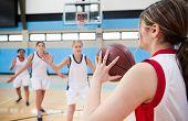 Female High School Basketball Team Passing Ball On Court poster