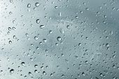 Textured Background Of Window Panes With A Cloudy Background. Natural Pattern From A Drop Of Rain On poster