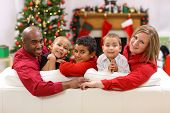 pic of mixed race  - Portrait of family at Christmas - JPG