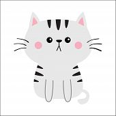Gray Cat Sad Head Face Silhouette. Cute Cartoon Sitting Kitty Character. Kawaii Animal. Funny Baby K poster