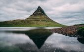 Kirkjufell At Snaefellsnes. Beautiful Water Reflection Of Kirkjufell With Really Smooth Water Pictur poster